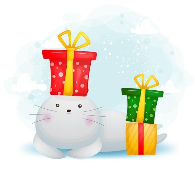 Morse de doodle mignon avec personnage de dessin animé de cadeau