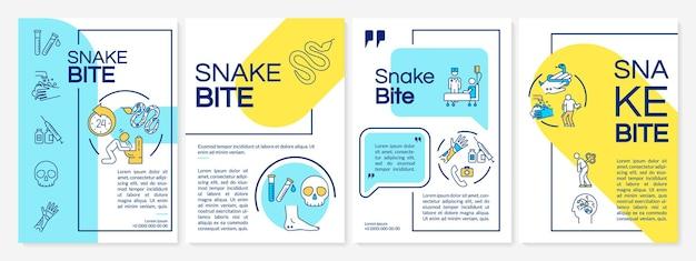 Morsure de serpent, modèle de brochure de premiers soins d'intoxication de poison de reptile. flyer, brochure, dépliant imprimé, conception de la couverture avec des icônes linéaires. mises en page vectorielles pour magazines, rapports annuels, affiches publicitaires
