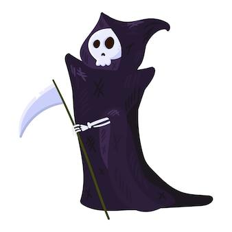 Mort avec faux, squelette portant une cape. caractère d'halloween isolé