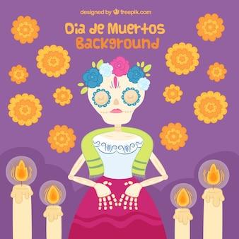 Mort morte mexicaine avec des fleurs et des bougies