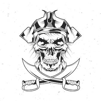 Mort pirate au chapeau.