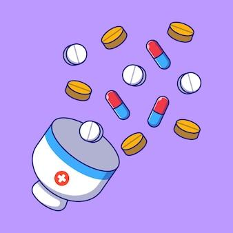 Mortier de jour de pharmacien de médicaments illustration plate. concept d'icône de pharmacie et de médecine isolé.