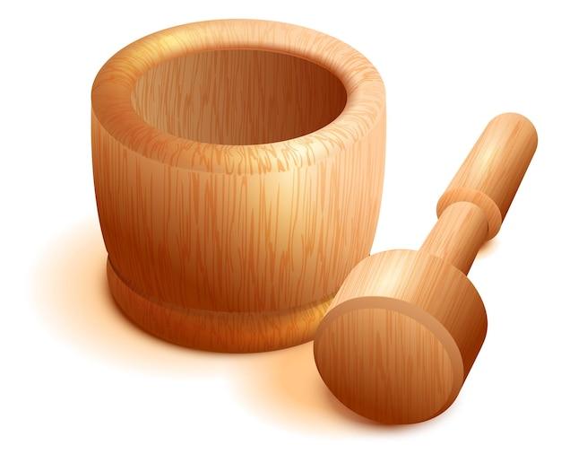 Mortier et pilon en bois isolé sur blanc.