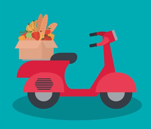 Mortorbike de livraison avec une boîte pleine de conception d'illustration de produits du marché