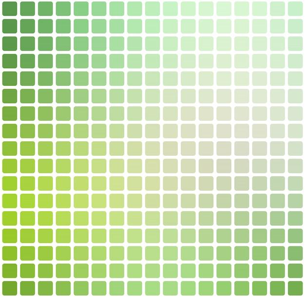 Mosaïque arrondie nuances vert clair sur carré blanc