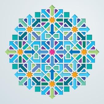 Mosaïque colorée de vecteur motif géométrique arabe orné