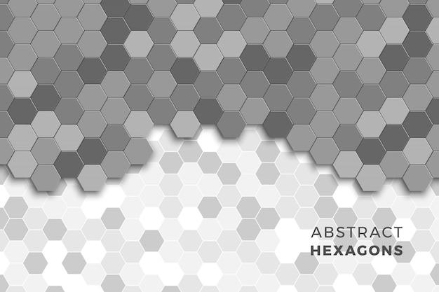 Mosaïque d'hexagones. abstrait géométrique en niveaux de gris
