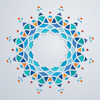 Mosaïque d'ornement arabe cercle coloré motif cercle