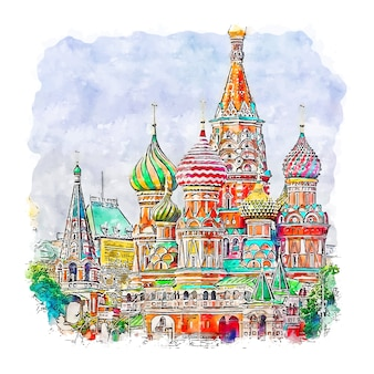 Moscou russie aquarelle croquis illustration dessinée à la main