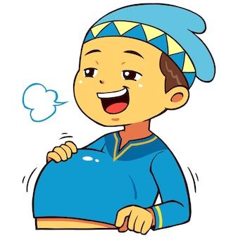 Moslem boy character pose satiation.
