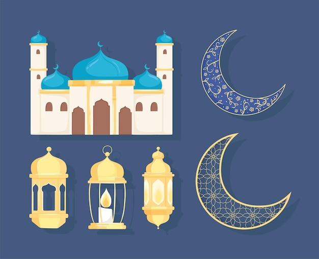 Mosquée arabe, croissant de lune et lanternes