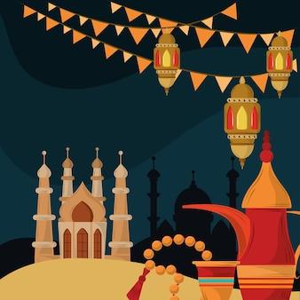 Mosquée arabe, lanternes et lampe