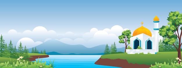 Mosquée avec de beaux hauts plateaux et lac