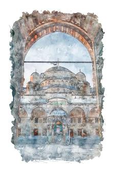 Mosquée bleue dans le dessin de la mosquée aquarelle d'istanbul