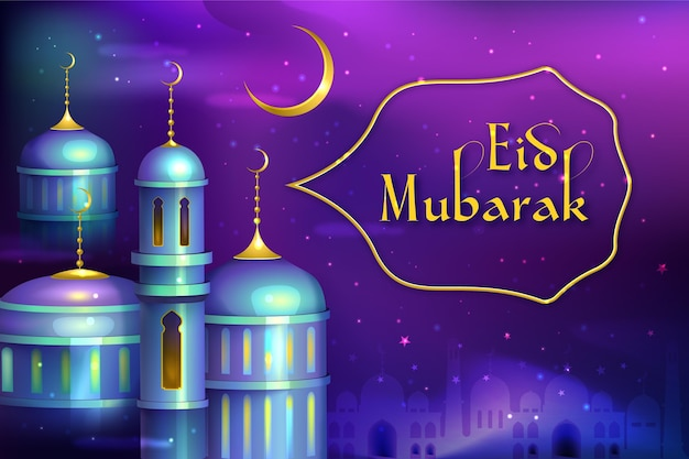 Mosquée dans la nuit eid mubarak réaliste