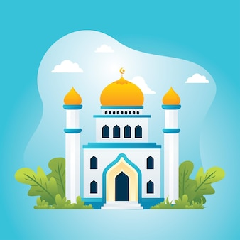 Mosquée avec décoration florale, style plat islamique