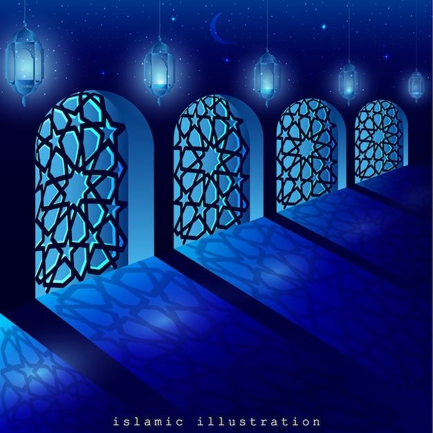 Mosquée fenêtre avec de belles lanternes brillantes et lune