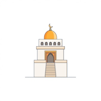Mosquée icône illustration vecteur de dôme or