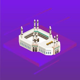 Mosquée de la mecque arabie islam islamique direction icône 3d kaaba