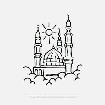 Mosquée de la médina au-dessus des nuages