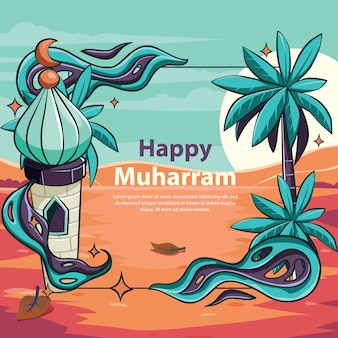 Mosquée muharram heureux avec ornement amusant