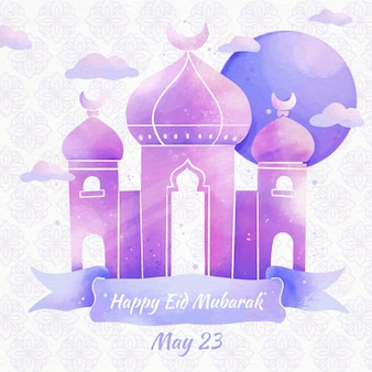 Mosquée et nuages aquarelle eid mubarak