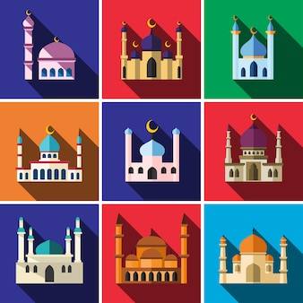 Mosquée plat icon set illustration isolé vecteur signe symbole