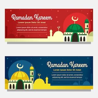 Mosquée ramadan bannière horizontale en rouge et bleu