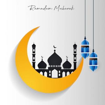 Mosquée ramadan kareem dans la lune présente