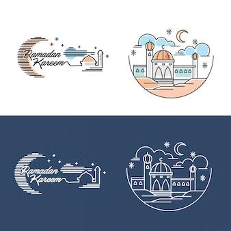 Mosquée de ramadan kareem illustration contour et couleur vecteur