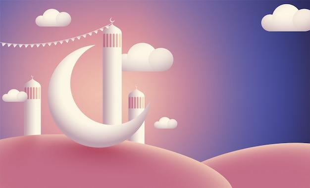Mosquée réaliste avec lune présente sur fond brillant nuageux.