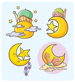 Mosquées abstraites avec lune pour la décoration de ramadan kareem