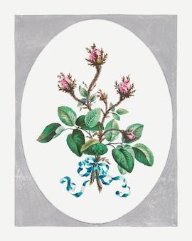 Moss rose vector art floral vintage print, remixé à partir d'œuvres d'art de john edwards