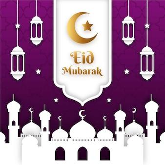 Mosuqe dans le style de papier de nuit eid mubarak