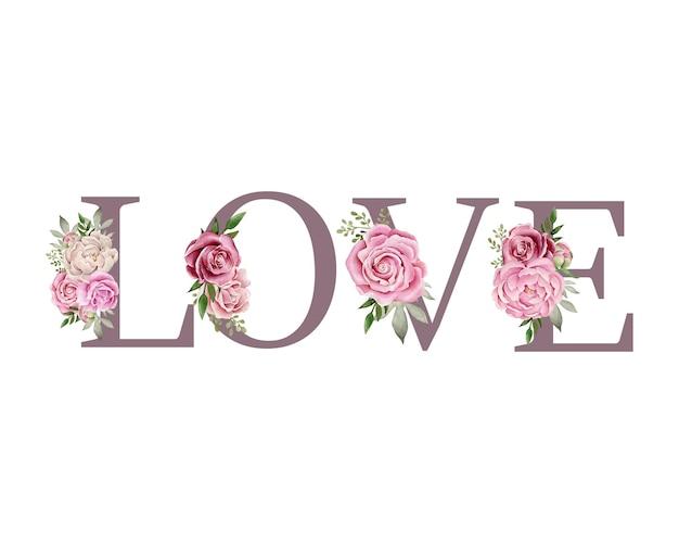 Mot d'amour avec composition florale