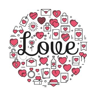 Le mot amour entouré d'icônes et de coeurs