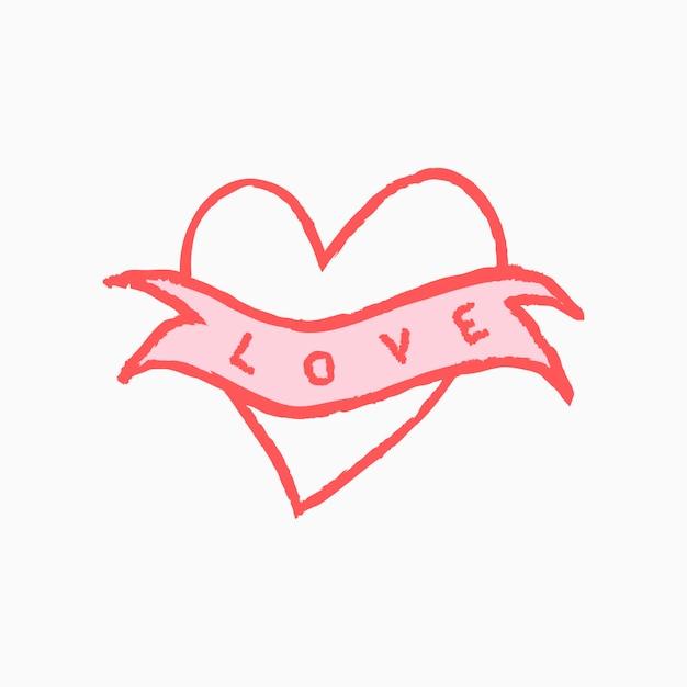 Mot d'amour d'icône de coeur, illustration de vecteur de griffonnage rose