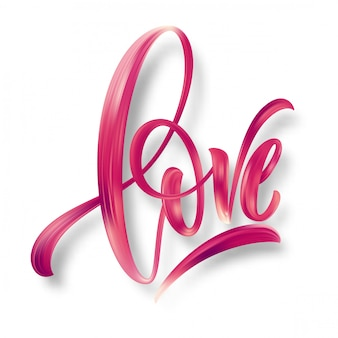 Mot d'amour lettrage dessiné à la main.