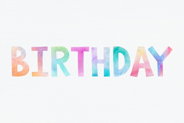 Mot d'anniversaire coloré