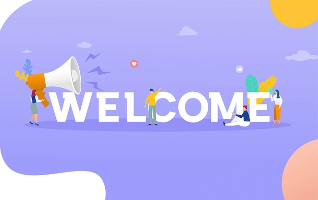 Mot de bienvenue avec concept d'illustration de mégaphone, peut utiliser pour, page de destination, modèle, interface utilisateur, web, application mobile, affiche, bannière, flyer