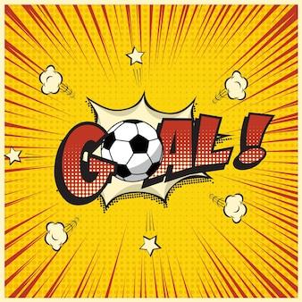 Mot de but avec ballon de football dans un style bande dessinée