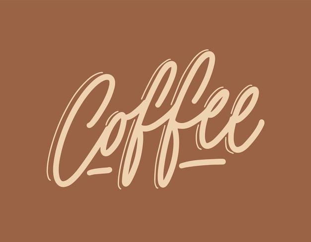 Mot de café écrit à la main avec une police ou un script calligraphique cursif élégant