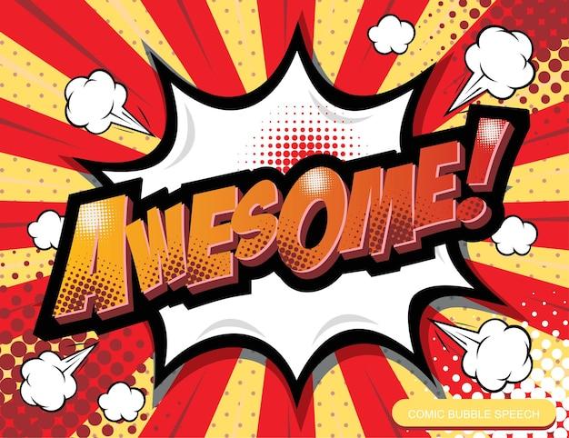 Mot de dessin animé de bulle de discours de bande dessinée dessinée à main levée génial
