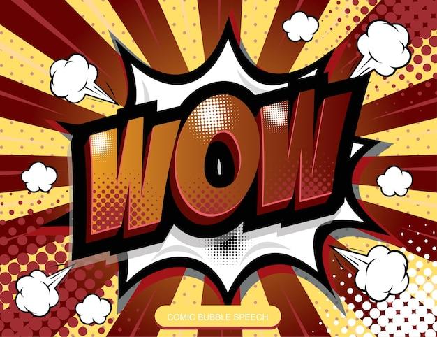 Mot de dessin animé à main levée de bande dessinée dessinée discours bulle wow