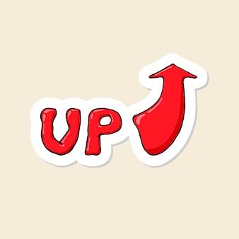 Mot dessiné de main de dessin animé vers le haut avec le symbole de la flèche.