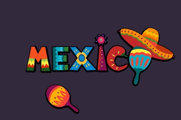 Mot du mexique dans le texte d'ornement traditionnel mexicain pour la conception de carte de fête ou d'invitation lumineuse