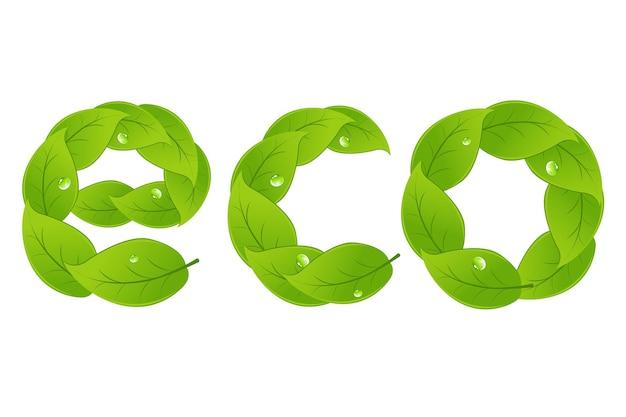 Mot eco avec des feuilles, isolé