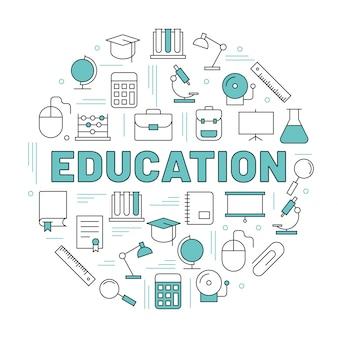 Le mot éducation entouré d'icônes