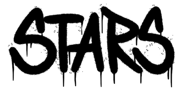 Mot d'étoiles de graffiti pulvérisé isolé sur fond blanc. graffiti de polices d'étoiles pulvérisées. illustration vectorielle.