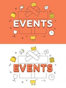 Mot événements sur boîte cadeau et icônes héros image linéaire illustration